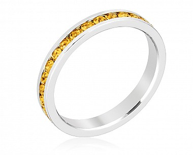 Sparkly Stackable Deep Yellow Crystal Eternity Band